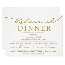 white and gold Elegant Script Rehearsal Dinner Card