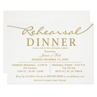 white and gold Elegant Script Rehearsal Dinner Invitation