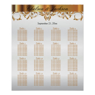 White and  Gold Element Design - Seating Chart