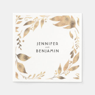 White and Gold Fall Leaves Elegant Wedding Paper Napkin