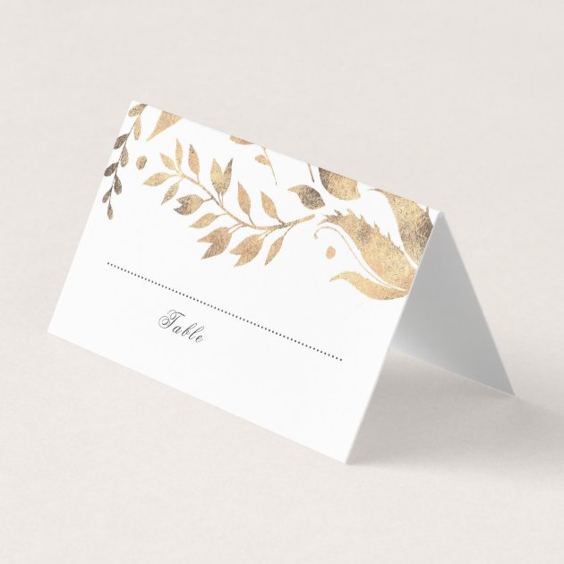 white and gold fall leaves wedding place card