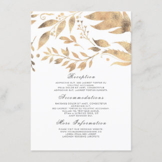 White and Gold Fall Wedding Information Guest Enclosure Card