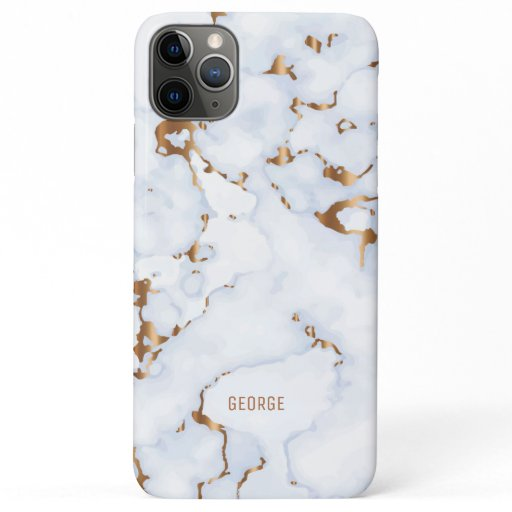 White and gold faux marble texture iPhone 11 pro max case