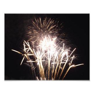 White and Gold Fireworks I Celebration Photography Photo Print
