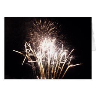 White and Gold Fireworks I Patriotic Celebration Card