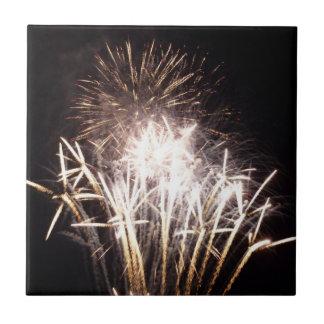 White and Gold Fireworks I Patriotic Celebration Ceramic Tile