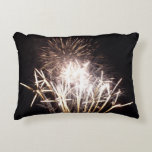 White and Gold Fireworks I Patriotic Celebration Decorative Pillow