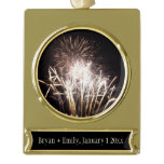 White and Gold Fireworks I Patriotic Celebration Gold Plated Banner Ornament