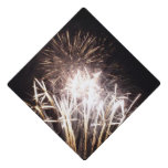 White and Gold Fireworks I Patriotic Celebration Graduation Cap Topper