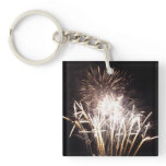 White and Gold Fireworks I Patriotic Celebration Keychain