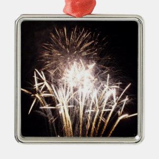 White and Gold Fireworks I Patriotic Celebration Metal Ornament
