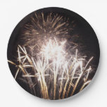 White and Gold Fireworks I Patriotic Celebration Paper Plate