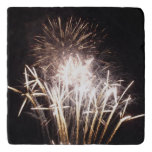 White and Gold Fireworks I Patriotic Celebration Trivet