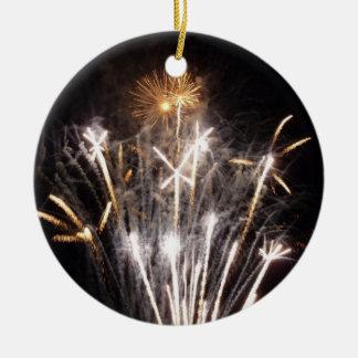 White and Gold FIreworks II Festive Celebration Ceramic Ornament