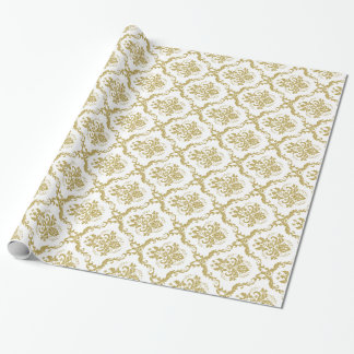 White And Gold Floral Damasks Lace Pattern Gift Wrap Paper