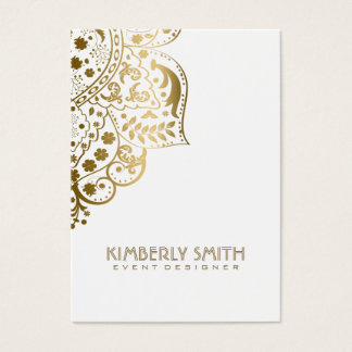White And Gold Floral Ornament Business Card