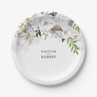 White and Gold Floral Watercolor Wedding Paper Plate