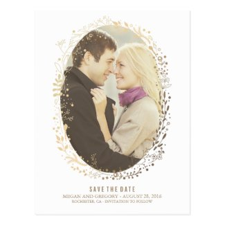 white and gold floral wreath photo save the date postcard