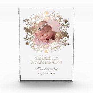 White and Gold Floral Wreath Sweet Baby Photo Acrylic Award