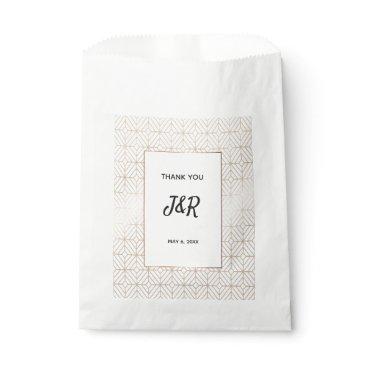 Wedding Themed White and gold foil geometric wedding favor bag