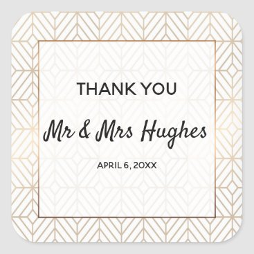 Wedding Themed White and gold foil geometric wedding square sticker