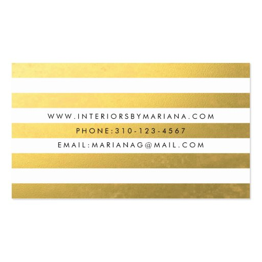 White and Gold Foil Stripe Business Card (back side)