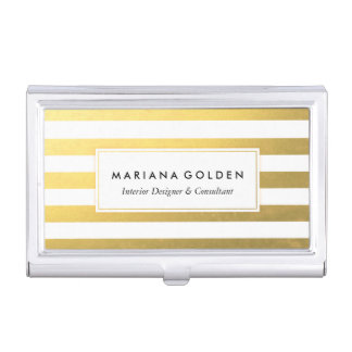 White and Gold Foil Stripe Business Card Holder