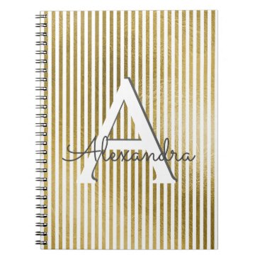 Wedding Themed White and Gold Foil Striped Monogram & Initial Notebook