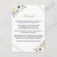 White and Gold Geometric Floral Detail Card