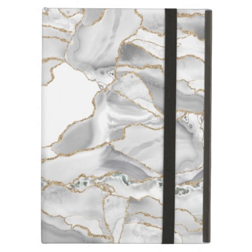 White and gold glitter agate case for iPad air