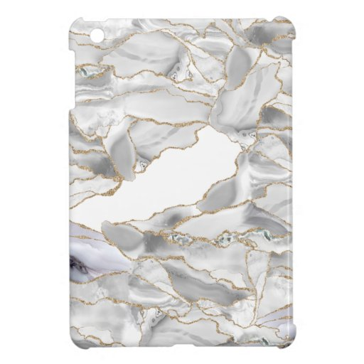 White and gold glitter agate case for the iPad mini