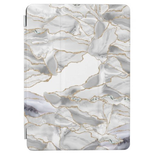 White and gold glitter agate iPad air cover