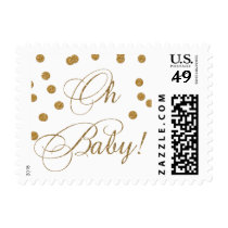 white and gold glitter Baby shower stamps