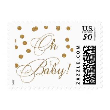 Toddler & Baby themed white and gold glitter Baby shower stamps