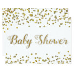 White and Gold Glitter Confetti Baby Shower Card