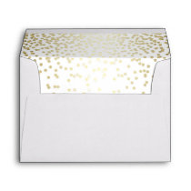 white and gold glitter confetti wedding envelope