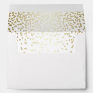 white and gold glitter confetti wedding envelope