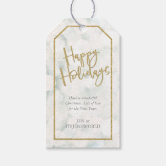 White and Gold Glitter Effect Happy Holidays Gift Tags
