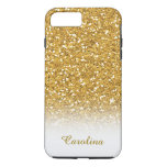 White And Gold Glitter, Personalized With Name Iphone 8 Plus/7 Plus Case at Zazzle