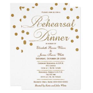 white and gold glitter rehearsal dinner invites