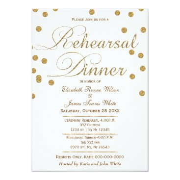 white and gold glitter rehearsal dinner invites