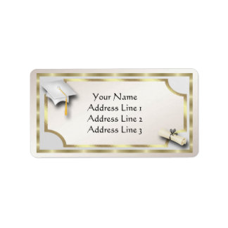 White and Gold Grauation Address Labels