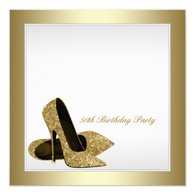 White and Gold High Heels Womans 50th Birthday Card | Zazzle