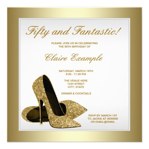 White and Gold High Heels Womans 50th Birthday Custom Announcements