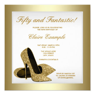 "White and Gold High Heels Womans 50th Birthday 5.25"" Square Invitation Card"