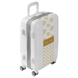 White and Gold Kisses and Love Hearts Luggage