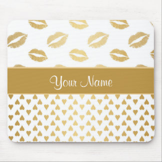 White and Gold Kisses and Love Hearts Mouse Pad