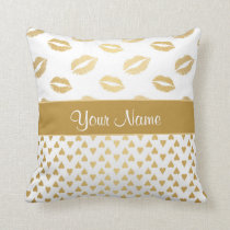 White and Gold Kisses and Love Hearts Throw Pillow