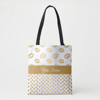 White and Gold Kisses and Love Hearts Tote Bag