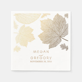 White and Gold Leaves Fall Wedding Paper Napkin